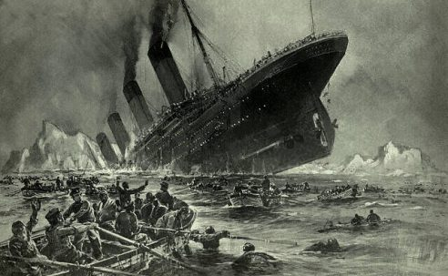 The sinking of RMS Titanic. April 15, 1912.