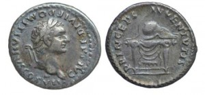Silver Denarius of Domitian struck as Caesar under Titus AD 79-81