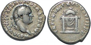 Titus AR denarius throne with garland and grain ears