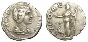 MANLIA SCANTILLA DENARIUS. WIFE OF DIDIUS JULIANUS. EXTREMELY RARE.