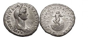 DOMITIA, ROME, 81 AD. SILVER DENARIUS. INFANT ON A GLOBE SEVEN STARS VERY RARE.