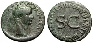 "Tiberius AE As ""PONTIFEX TRIBVN POTESTATE XII SC"" Rome 10-11 AD RIC 469"