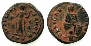 "ANTIOCH.Maximianus II AD 310-313.AE.""Persecution"" issue. ~~~Tyche of Antioch. ~#~.Apollo."