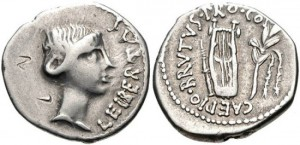 BRUTUS, ASSASSIN OF CAESAR, Spring-early summer 42 BC. AR Denarius (18mm, 3.71 g, 8h). Struck by a military mint traveling with Brutus in Lycia. Bare head of Libertas right / Plect