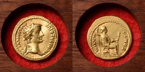 Ancient Roman Gold Aureus Coin of Emperor Tiberius - 15 AD