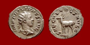 Roman Empire - Philip II silver antoninianus minted in Rome in 248 A.D. 9th. emission, 3rd. officina. SECVLARES AVGG – Goat