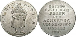 Germany, Saxony. Martin Luther. 1830. AR Medal. 300th ann. of the Augsburg Confession