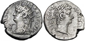 EGYPT, Alexandria. Nero and Divus Tiberius BI Tetradrachm . Year 13, AD 66/7.