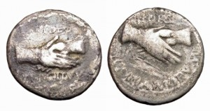 Civil War, Vindex. A.D. 68-69. AR Denarius. Clasped hands