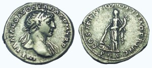 Trajan. AD 98-117. AR Denarius. Pax setting fire to arms