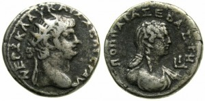 EGYPT.ALEXANDRIA.NERO AD 54-68.BILLON TETRADRACHM.AD 64/65~#~.DETAILED PORTRAIT OF POPPAEA