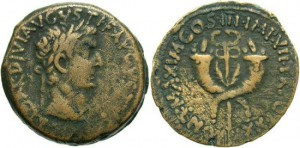 Syria, Commagene. Tiberius. A.D. 14-37. Æ dupondius(?). A.D. 20/1. Nearly VF, brown patina.