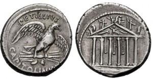 PETILLIUS CAPITOLINUS, 43 BC. (AR Denarius 3.86g 18.2mm) Rome Mint Toned/good details & well-struck with high relief. EF
