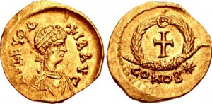 LICINIA EUDOXIA, AUGUSTA, 439-490 AD. (AV Tremissis (1.40g 14mm 6h) [EXTREMELY RARE RIC R-4] Constantinople mint Struck 439-450/5 AD. EF