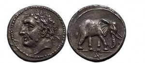 ZEUGITANIA: CARTHAGE, 2nd Punic War, c.213 BC Half Shekel. Hannibal / Elephant