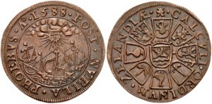 TUDOR. TEMP.ELIZABETH I. 1558-1603. Æ JETON. DEFEAT OF THE SPANISH ARMADA