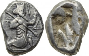 ANCIENT PERSIAN EMPIRE ACHAEMENID KINGS, SILVER SIGLOS, TIME OF DARIUS I TO XERXES II. CA. 485-470 BC