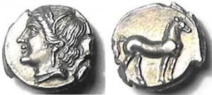 Zeugitania Carthage - Time of Hannibal 220-210 BC Silver Quarter Shekel 13mm