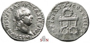TITUS DENARIUS - LAUREL WREATH ON CURULE CHAIR - RIC 108