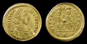 ANCIENT ROME. VALENTINIAN II, 375-392 AD. GOLD SOLIDUS
