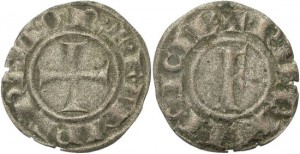 FORVM Kingdom of Sicily Frederick II 1198-1250 Billon Denaro Cross/ Large F Rare