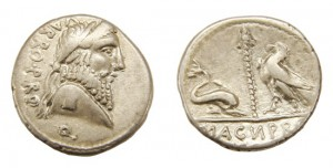 POMPEY THE GREAT AR. DENARIUS (49 BC)