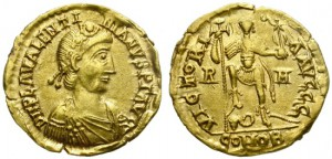 VALENTINIAN III. GOLD SOLIDUS. ROME MINT. RARE !