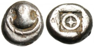 "BOEOTIA, THEBES SILVER AR OBOL ""BOEOTIAN SHIELD & WHEEL INCUSE"" EXTREMELY RARE"