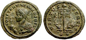 Constantine II VIRTVS EXERCIT from Ticinum with Iota-Chi