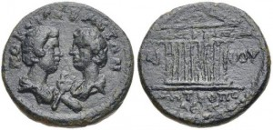 ANNIUS VERUS, (son of Marcus Aurelius and Faustina Jr.) Cilicia, Tarsus mint. Commodus and Annius Verus. Caesars, AD 166-169/70 and AD 166-177. AE (18mm, 3.72 g, 6h). Confronted