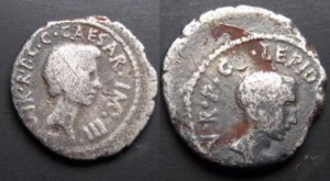 Lepidus and Octavian. 42 BC. AR Denarius (3.64 gm).VERY RARE AND VERY INTERESTING HISTORICAL COIN !!