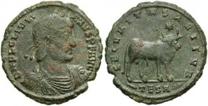 Julian II. A.D. 360-363. Æ maiorina. Thessalonica. VF, dark green patina with red-brown deposits.