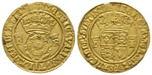 Henry VIII (1509-47), Crown of the double rose, H-K/H-I (Jane Seymour), mm arrow, 3.61g, 26mm. S. 2280. Good very fine