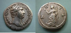 Hadrian Travel Series Denarius. Asia.