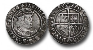 ENGLAND, TUDOR, Henry VIII (1509-1547), Groat, 2.29g., 24mm, 2nd Coinage, London, m.m. Lis (1526-1532) / m.m. Rose (1509-1526), Laker bust D