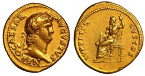 Nero. AD 54-68. AV Aureus EF, Good portrait. COMMEMORATES PISONIAN CONSPIRACY RARE