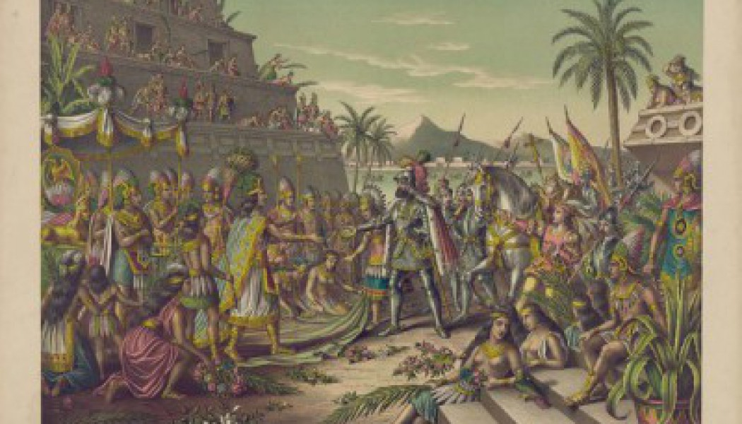 Hernán Cortés and Moctezuma. November 8, 1519.
