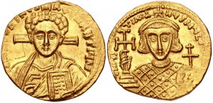 JUSTINIAN II, 2ND REIGN, 705-711 AD. (AV Solidus 4.33g 18mm 6h) Scarce Western Issue portrait of Christ. Lustrous GOOD VF