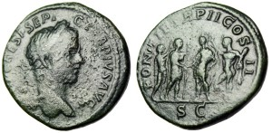 "Geta AE Sestertius ""Clasping Hands With Caracalla, Crowned Apollo & Hercules"" RIC 155a Extremely Rare"