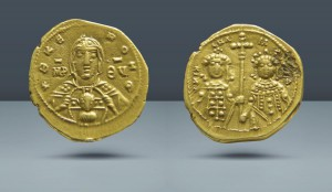 Michael VII, Ducas with Maria, 1071-1078 AD. AV Tetarteron. Ex Garrett Collection. Auction Bank Leu/NFA. Zurich, March 1985. Lot 526. Ex JWG Raymond. 30 Dec 1922